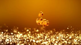 Video animation - christmas golden light shine particles bokeh - message stock illustration