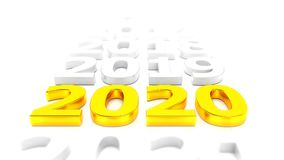 Video animation - new year 2020 timeline concept - gold royalty free illustration