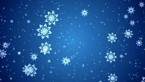 Video-Animation von den Schneeflocken und von Sternen, die über blauen Hintergrund fallen lizenzfreie abbildung