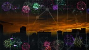 Video animato del fuoco d'artificio illustrazione vettoriale