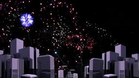 Video animato del fuoco d'artificio illustrazione di stock