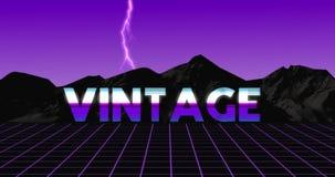video animazione d'annata 80s nel retro sguardo porpora con fulmine stock footage