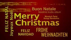Video animering av ett ordmoln - glad jul stock illustrationer