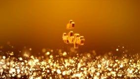 Video animering - för skenpartiklar för jul guld- ljus bokeh - meddelande stock illustrationer
