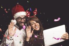 Video appell på partiet för ` s för nytt år Fotografering för Bildbyråer