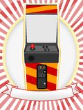 Video Arcade Cabinet Oval Ad Setting Stock Image