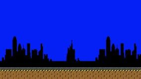 Video Arcade City Platform Dolly Shot anziano su un fondo di schermo verde illustrazione vettoriale