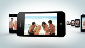 Video of attractive young people at beach Stock Photo