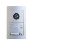 Video attrezzatura del citofono su fondo bianco fotografia stock
