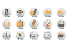 Video and audio buttons. Vector illustration of video and audio buttons .You can use it for your website, application or presentation Royalty Free Stock Photo