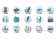 Video and audio buttons stock illustration