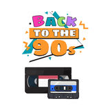 Video and audio cassettes, VHS and audiotape from 90s Royalty Free Stock Photography