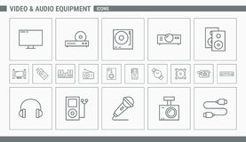 Video and Audio Equipment Icons - Set Web and Mobile 01 stock illustration