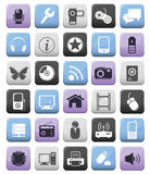 Video audio and multimedia icons set. Video audio and multimedia icon buttons set. Editable EPS 8 Stock Image