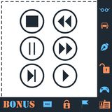 Video Audio Player buttons icon flat stock illustration