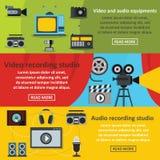 Video audio tool banner horizontal set, flat style Stock Photos