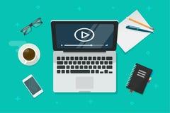 Video auf Laptopvektorillustration, Draufsicht des flachen on-line-Konzeptes des KarikaturBildschirms webinar, Idee des Tutoriums lizenzfreie stockfotos