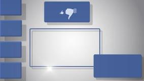 Video av den tomma skärmen med sociala massmediasymboler stock illustrationer