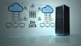 Video av det stora datanätverket stock illustrationer