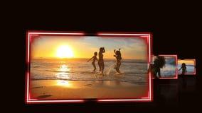 Video av vänner under en solnedgång stock video