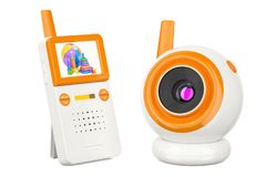 Video baby monitor, baby cam. 3D rendering Stock Image