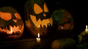 Video background for halloween. Three pumpkins with candles stock footage