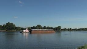 Barge on mississippi river stock video