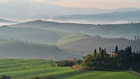 Morning in Tuscany. Video with a beautiful morning landscape in Tuscany in springtime stock footage
