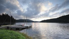 Morning view with a mountain lake stock footage