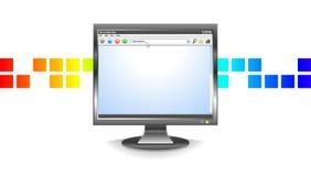 Video in bianco del calcolatore con il reticolo astratto illustrazione di stock