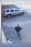 Video bildskärm med bilden från säkerhetskamera Fotografering för Bildbyråer
