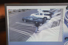 Video bildskärm med bilden från säkerhetskamera Royaltyfri Foto