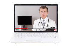 Video blog concept - doctor talking about something in video on Stock Photos