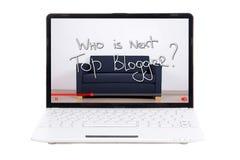 Video blog concept - who is next top blogger?. Video blog concept - `who is next top blogger?` text on laptop screen stock photos