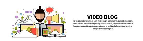 Video Blog Content Concept Horizontal Banner With Copy Space. Flat Vector Illustration vector illustration