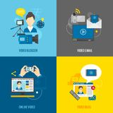 Video Blog Flat Set Royalty Free Stock Images