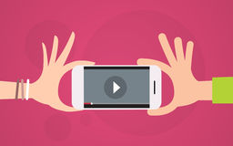 Video Blog Hand Hold Cell Smart Phone Player Royalty Free Stock Photos