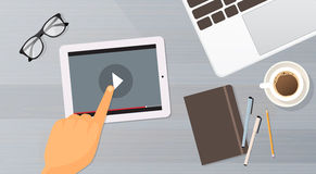 Video Blog Tablet Computer Player Top View. Flat Vector Illustration Stock Photo