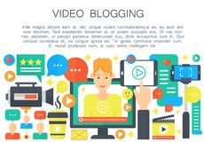 Video blogger cartoon flat concept. Computer screen with male man blogger. Personal blogging channel broadcasting Royalty Free Stock Images