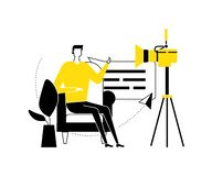 Video blogger - flat design style vector illustration. High quality black, white and yellow composition with a creative man streaming online in front of the stock illustration