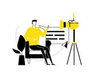 Video blogger - flat design style vector illustration stock illustration