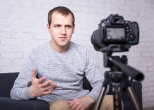 Video blogger making new video at home Royalty Free Stock Photography