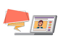 Video blogger making stream. Vlogger vector illustration. Video blog stream. Woman vlogger with blank message. Vector line illustration vector illustration