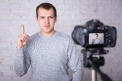 Video blogger making video at home Stock Image