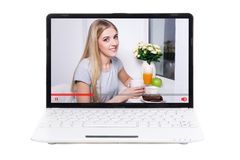 Video blogger talking something on screen of laptop isolated on. White background stock images