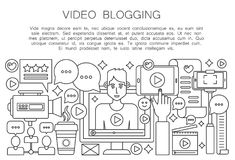 Video blogger thin line concept. Computer screen with male man blogger. Personal blogging channel broadcasting outline Stock Image