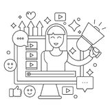 Video blogger thin line web concept. Computer screen with female woman blogger. Personal blogging channel broadcasting. Outline stroke vector illustration Royalty Free Stock Images