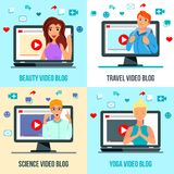 Video Bloggers Characters Flat Concept royalty free illustration