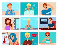 Video Bloggers Characters Flat Set royalty free illustration