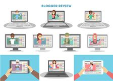 Video bloggers set. People doing review on screen vector illustration